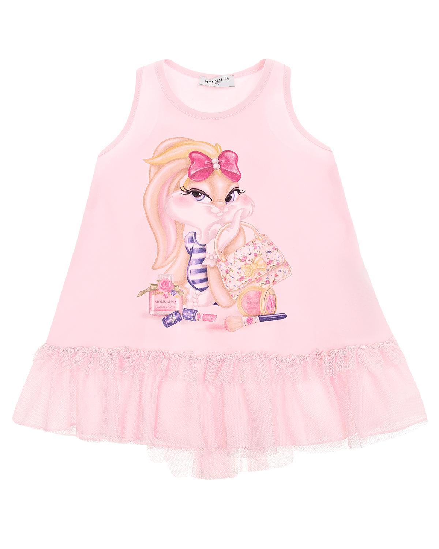 Купить Платье А-силуэта без рукавов Monnalisa детское, Розовый, 94%хлопок+6%эластан, 100%хлопок, 100%полиэстер