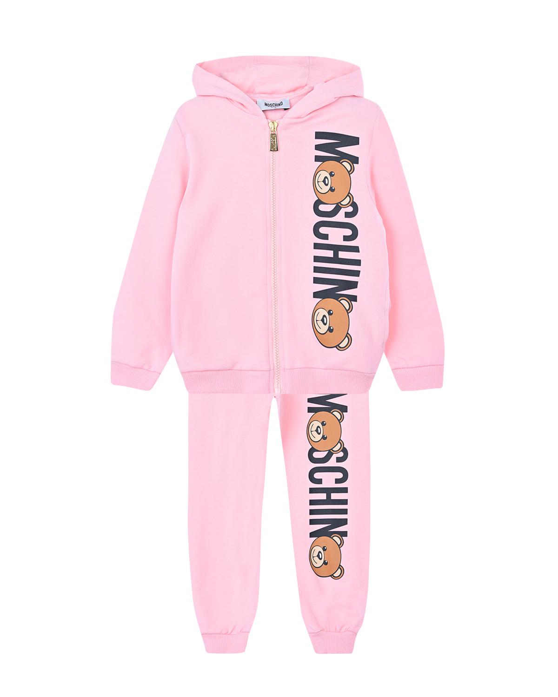 Купить Спортивный костюм из двух деталей Moschino детский, Розовый, 100%хлопок, 95%хлопок+5%эластан