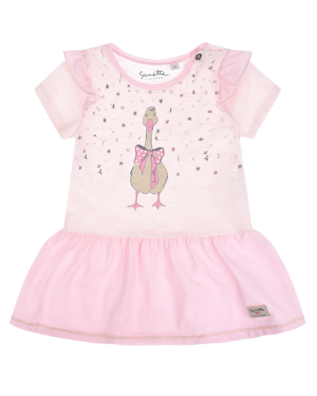 Купить Розовое платье с принтом гусь Sanetta Kidswear детское, Розовый, 100%хлопок