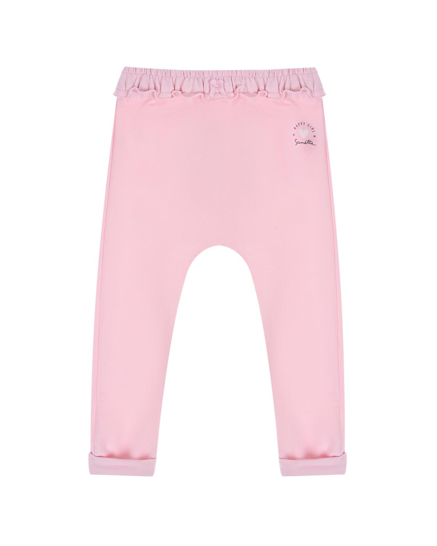 Купить Розовые спортивные брюки с оборкой на поясе Sanetta Kidswear детские, Розовый, 95%хлопок+5%эластан
