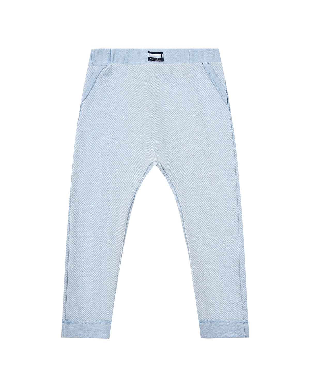 Купить Голубые спортивные брюки в елочку Sanetta fiftyseven детские, Голубой, 100%хлопок
