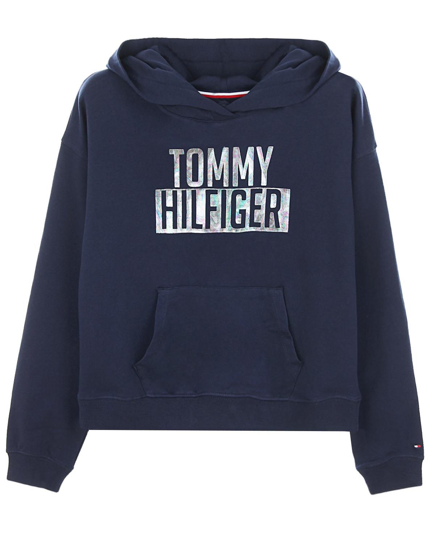 Купить Укороченная толстовка-худи с логотипом Tommy Hilfiger детская, Синий, 95%хлопок+5%эластан, 96%хлопок+4%эластан