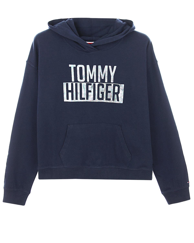 Укороченная толстовка-худи с логотипом Tommy Hilfiger детская фото