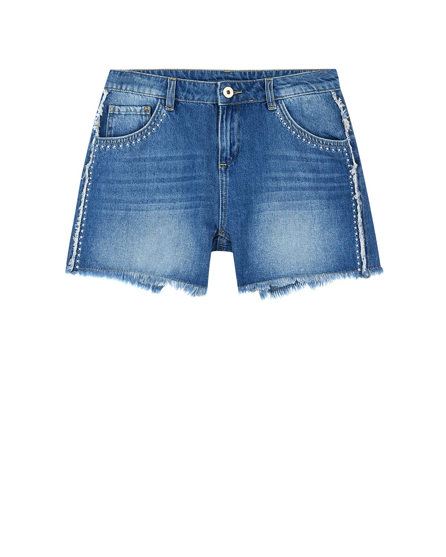 Купить Джинсовые шорты с вышивкой и бахромой TWINSET детские, Синий, 100%хлопок, 100%полиэстер