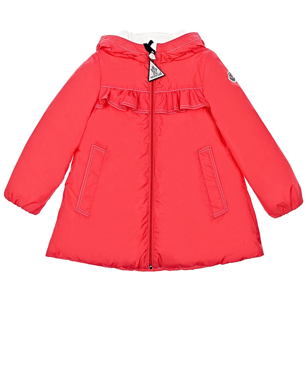 Купить Пальто с капюшоном Moncler детское, Красный, 100%полиэстер, 100%хлопок, 90%пух+10%перо