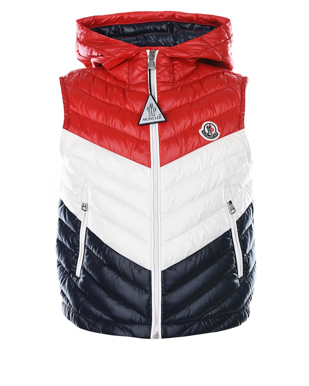Купить Стеганый жилет с капюшоном Moncler детский, Красный, 100%полиамид, 90%пух+10%перо