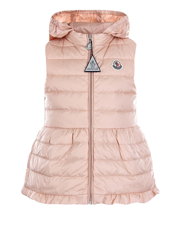 Купить Стеганый жилет с оборкой Moncler детский, Розовый, 100%полиамид, 90%пух+10%перо
