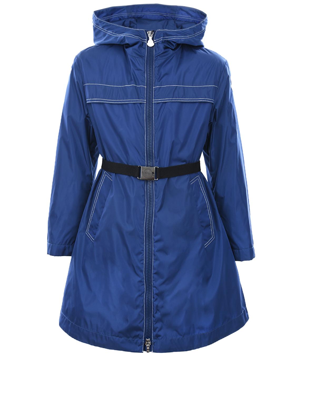 Купить Пальто приталенного кроя с капюшоном Moncler детское, Синий, 100%полиамид, 90%пух+10%перо