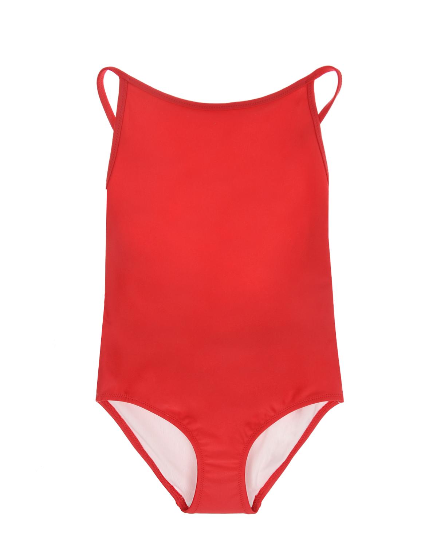 Купить Слитный купальник отделкой в клетку Burberry детский, Красный, 80%полиамид+20%эластан, 88%полиэстер+12%эластан