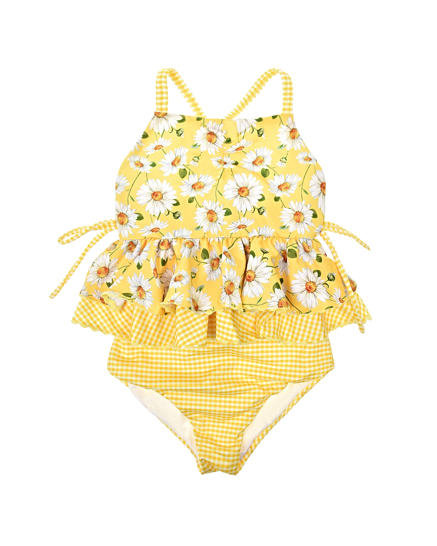 Купить Купальник с оборками Monnalisa детский, Желтый, 86%полиэстер+14%эластан, 92%полиэстер+8%эластан