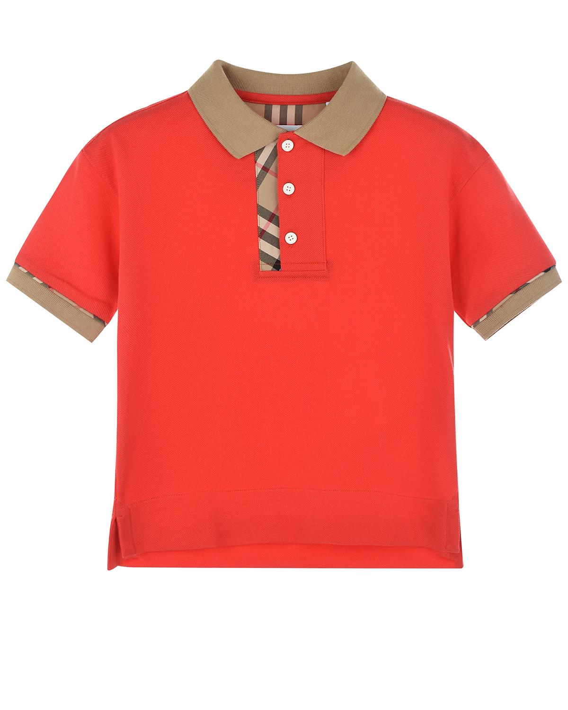 Купить Красная футболка-поло Burberry детская, Красный, 100%хлопок