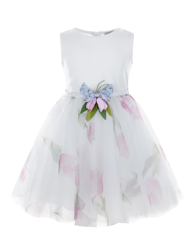 Купить Нарядное платье с пышной юбкой Monnalisa детское, Мультиколор, 100% полиэстер, 100% хлопок