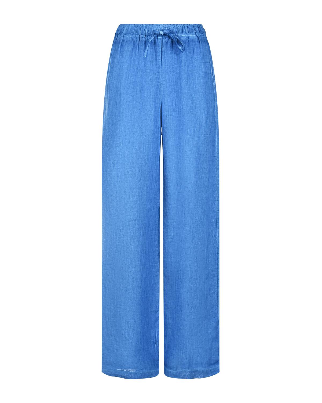 Синие брюки свободного кроя на кулиске 120% Lino фото