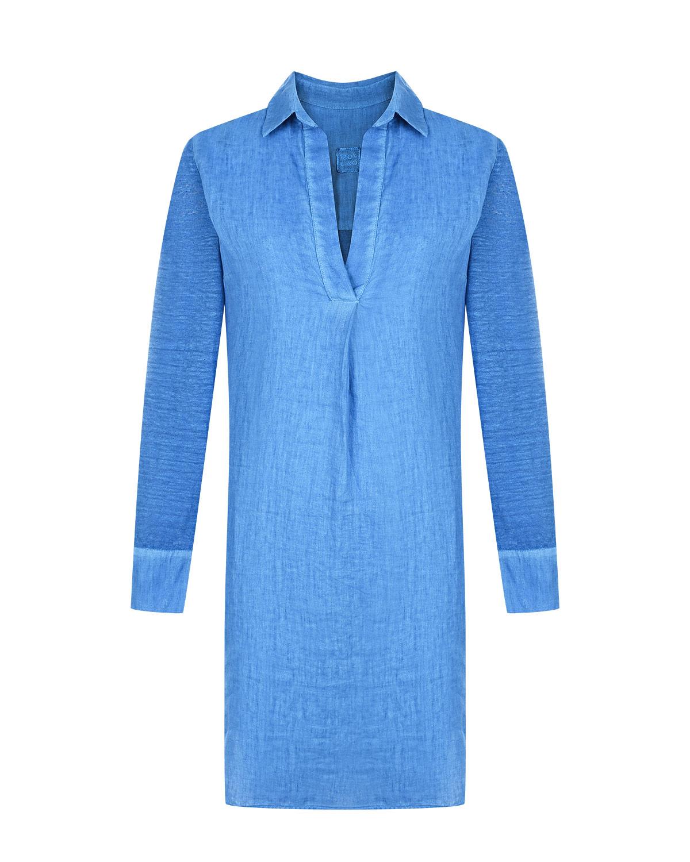 Синее платье с отложным воротником 120% Lino фото