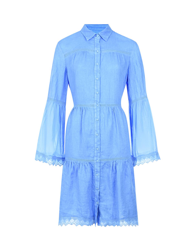 Голубое платье с рукавами-клеш 120% Lino фото