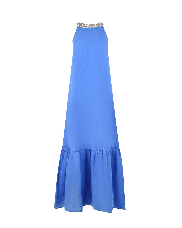 Платье-макси с декором на вороте 120% Lino фото