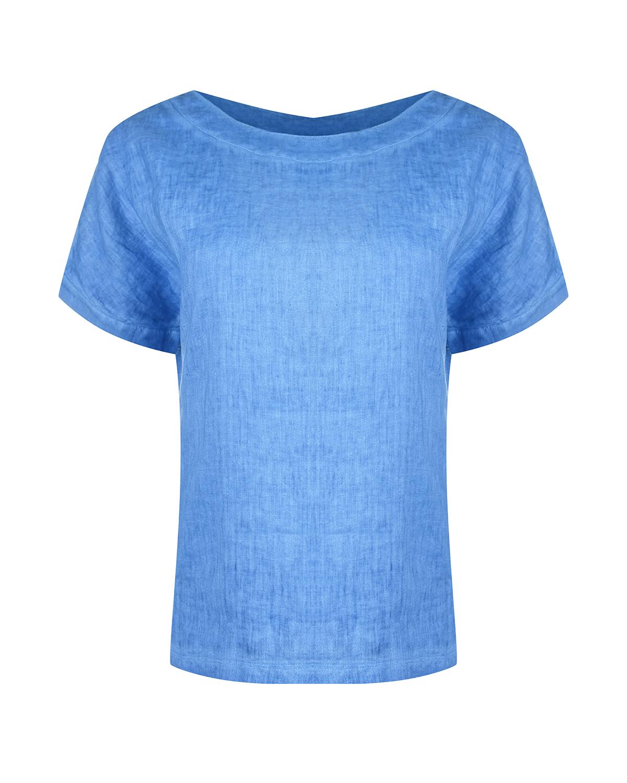 Голубая льняная футболка с отделкой из трикотажа 120% Lino фото