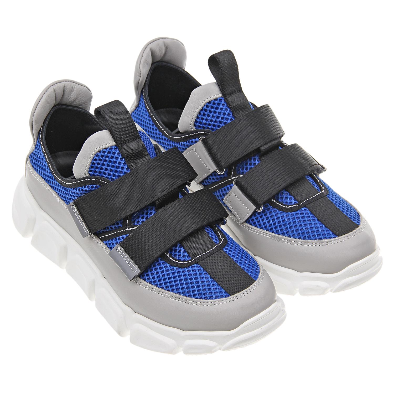 Синие кроссовки с черными ремешками AM66 детские фото