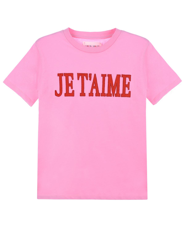 "Футболка с надписью ""Je taime"" Alberta Ferretti детская фото"