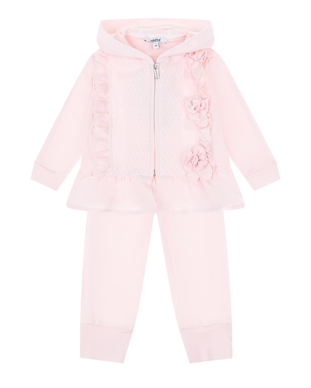 Купить Розовый спортивный костюм с кружевной отделкой Aletta детский, 100%хлопок, 100%полиамид