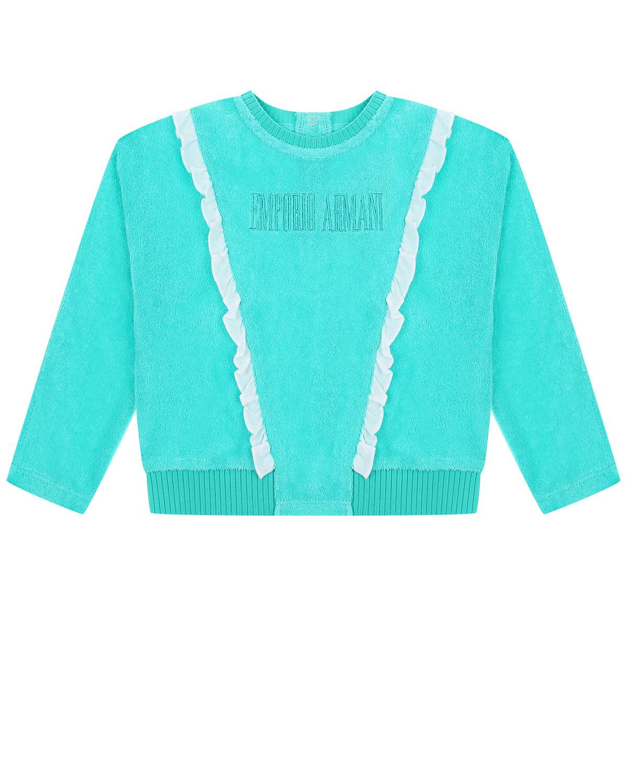 Купить Бирюзовый свитшот с белыми рюшами Emporio Armani детский, Нет цвета, 83%хлопок+17%полиэстер, 93%полиэстер+7%эластан