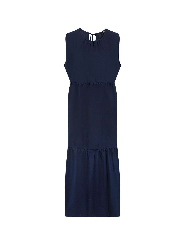 Синее платье для беременных с воланами Attesa фото