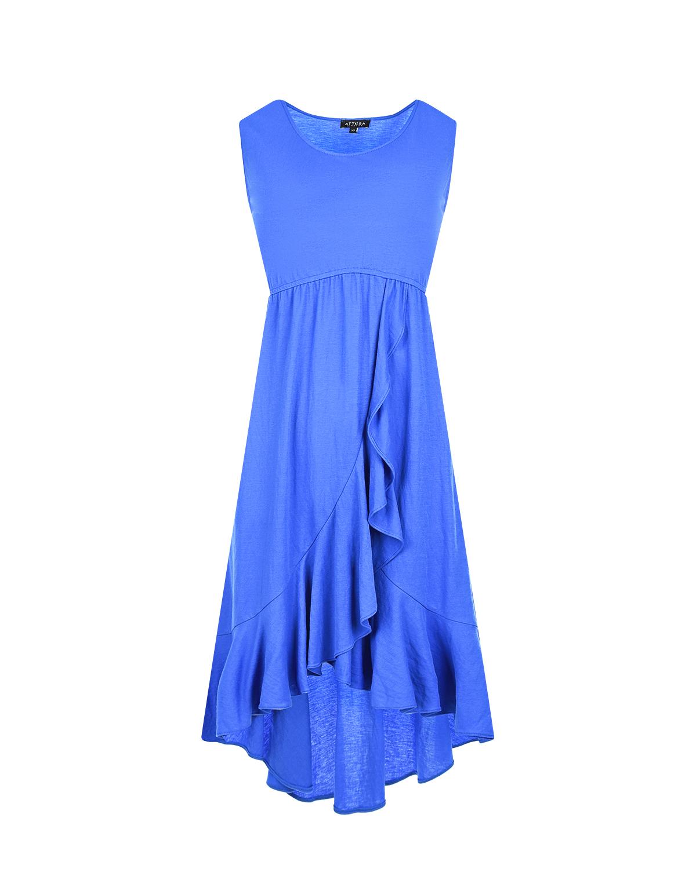 Синее платье для беременных с оборкой Attesa синего цвета