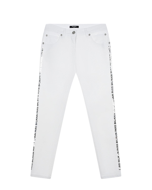 Белые джинсы с логотипом Balmain детские фото