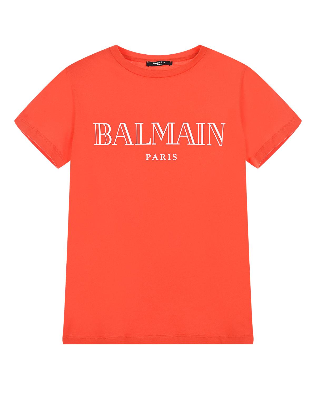 Купить Красная футболка с белым логотипом Balmain детская