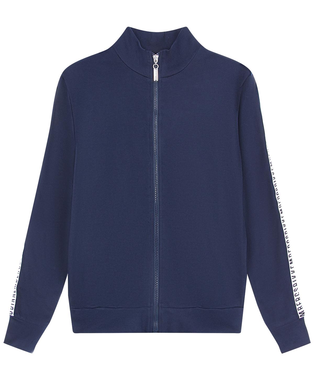 Синяя спортивная куртка с лампасами Bikkembergs детская фото
