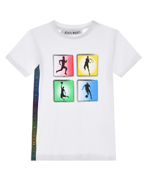 """Белая футболка с принтом """"виды спорта"""" Bikkembergs детская фото"""