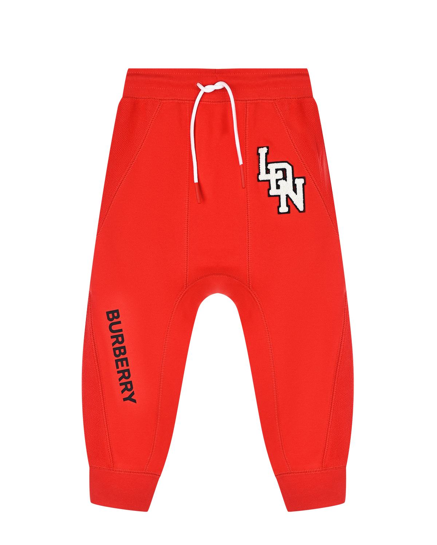 Купить Красные спортивные брюки Burberry детские, Красный, 100%хлопок, 30%вискоза+28%шерсть+27%акрил+15%полиэстер