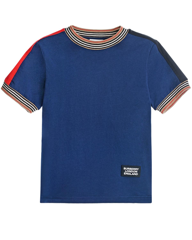 Купить Синяя футболка с отделкой в полоску Burberry детская, Синий, 100%хлопок, 57%хлопок+43%вискоза