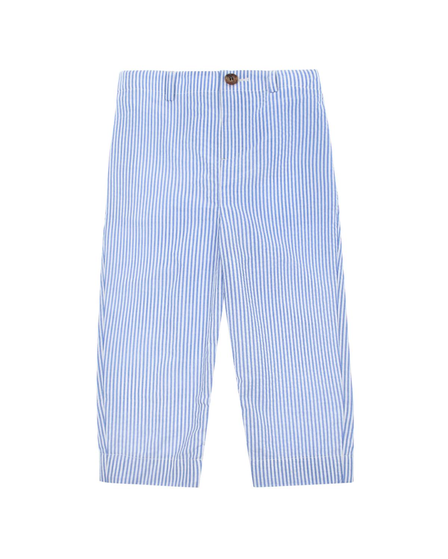 Купить Брюки в бело-голубую полоску Burberry детские, Голубой, 100%хлопок