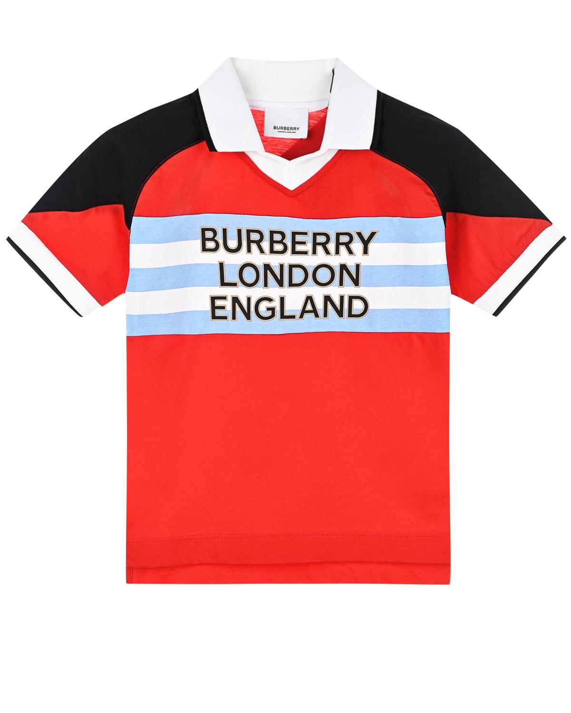 Футболка-поло color block с логотипом на груди Burberry детская фото