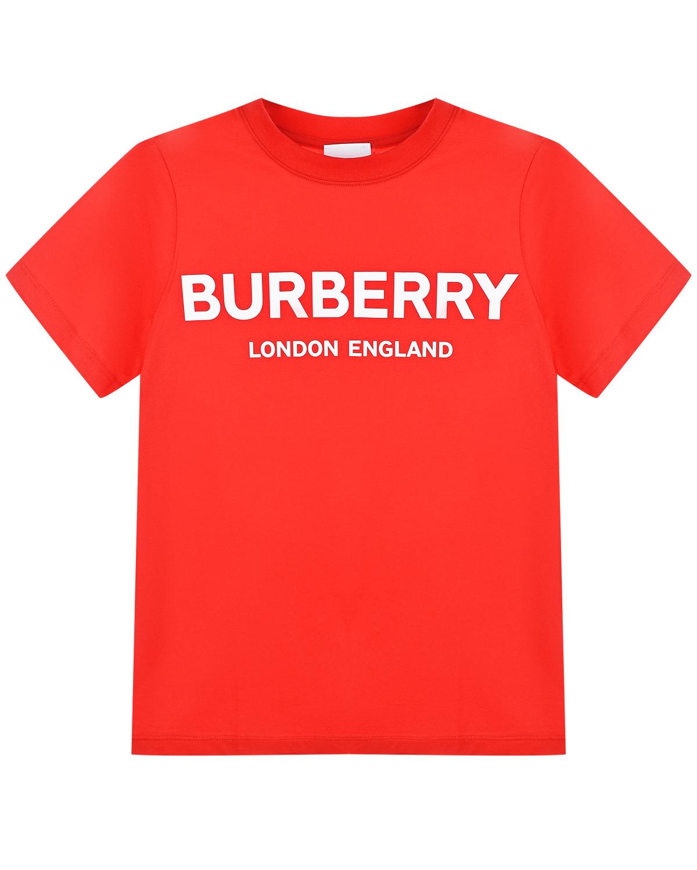 Купить Красная футболка с белым логотипом Burberry детская, Красный, 100%хлопок, 97%хлопок+3%эластан
