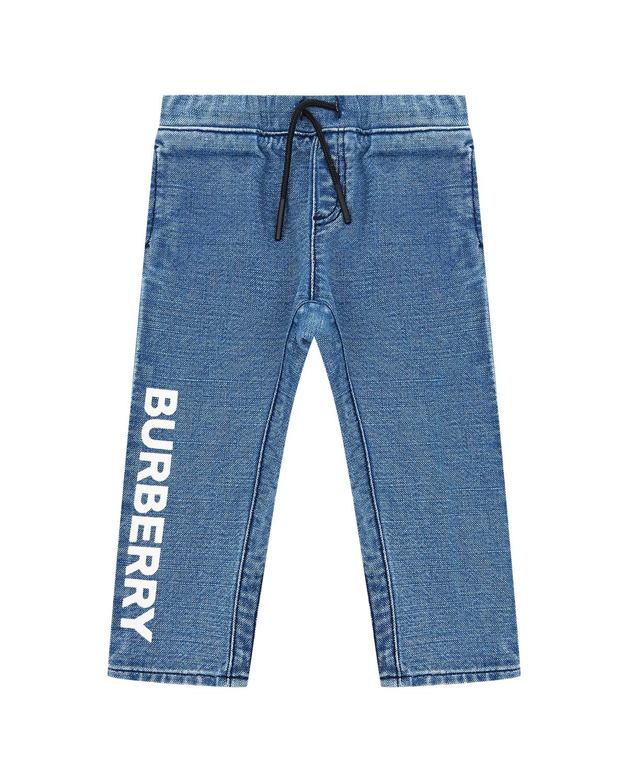Голубые джинсы с белым логотипом Burberry детские фото