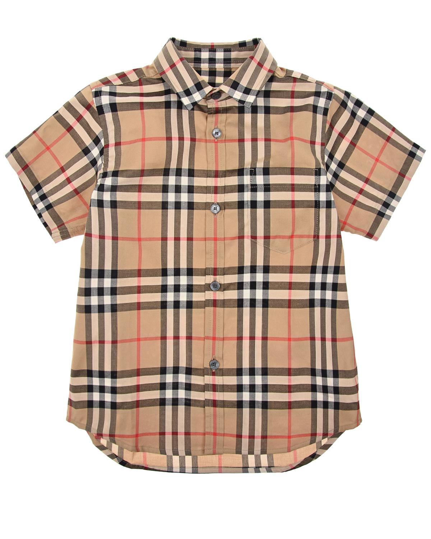 Купить Бежевая рубашка в клетку Vintage Check Burberry детская, Бежевый, 100%хлопок