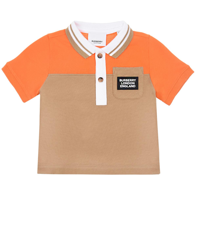 Футболка-поло в стиле color block с накладным карманом Burberry детская фото