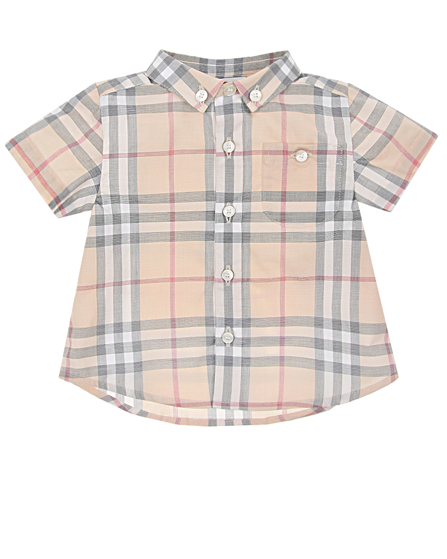 Купить Рубашка с короткими рукавами в клетку Vintage Check Burberry детская, Бежевый, 100%хлопок