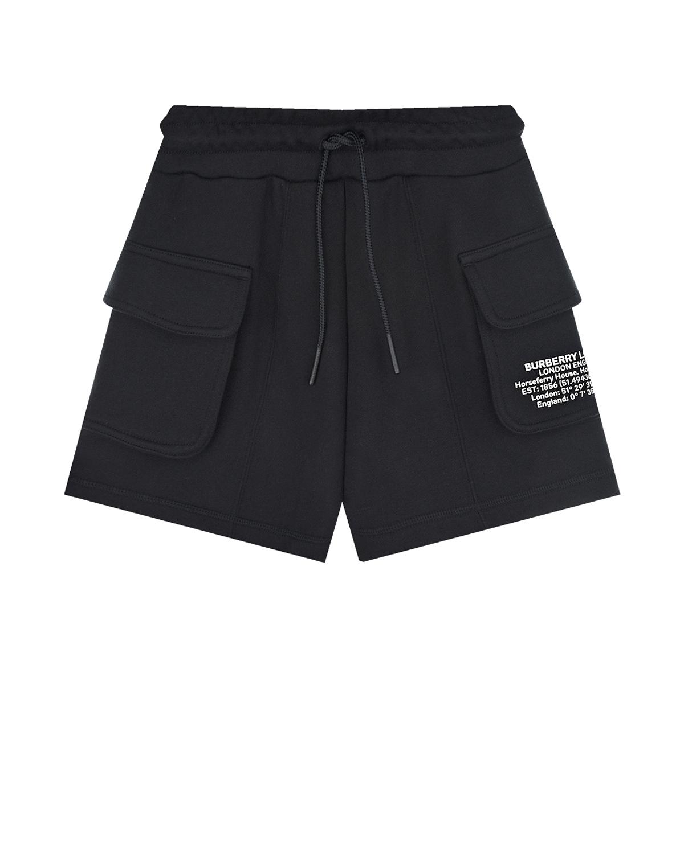 Купить Черные трикотажные шорты с накладными карманами Burberry детские, Черный, 100%хлопок