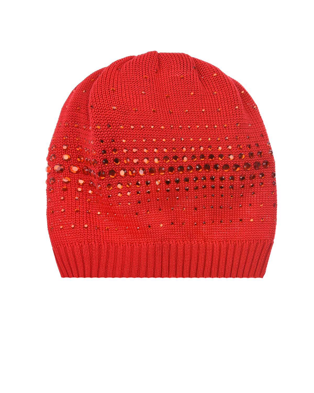 Купить Красная шапка со стразами в тон Catya детская, Красный, 100%хлопок
