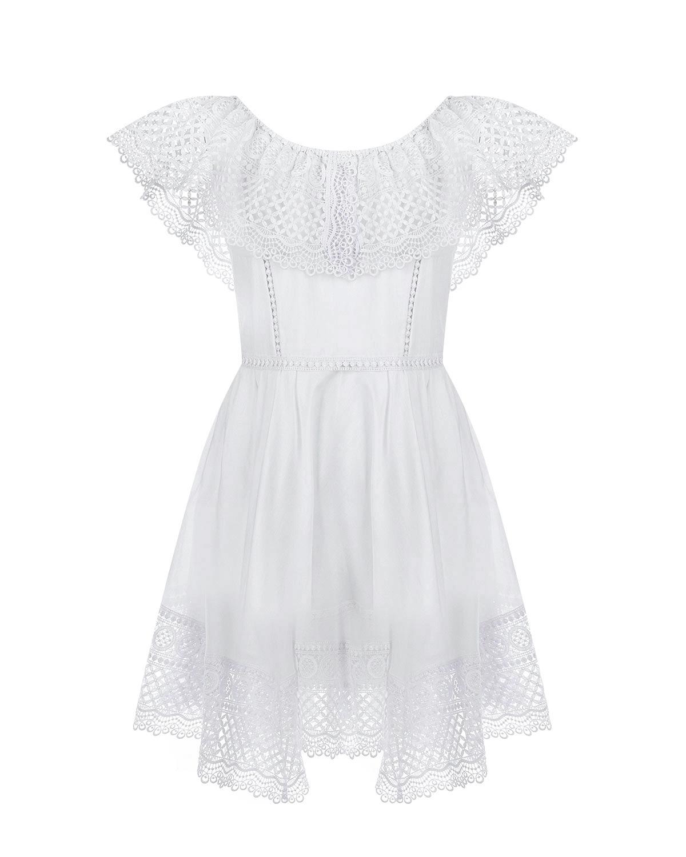 Белое платье с кружевной отделкой Charo Ruiz детское фото
