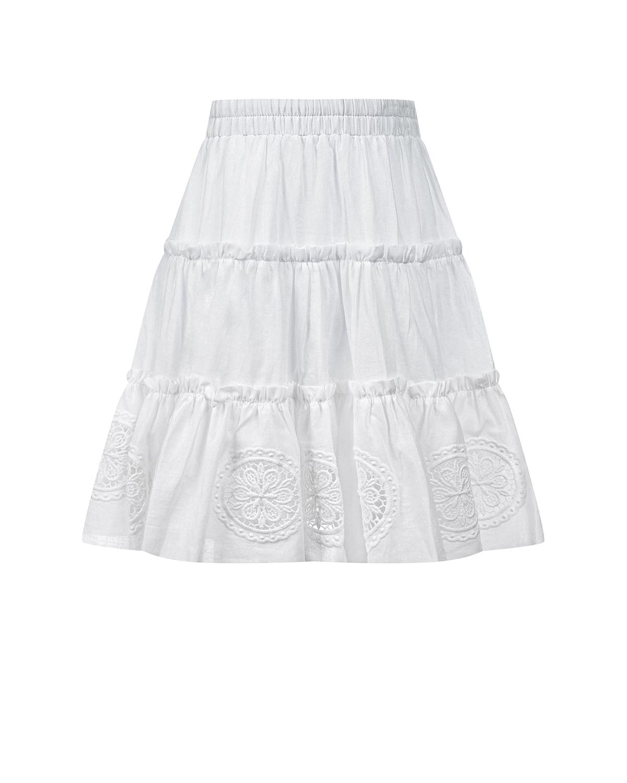 Белая юбка-полусолнце с кружевной отделкой Charo Ruiz детская фото
