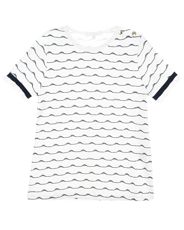 Купить Белая футболка с вышивкой волны Chloe детская, Белый, 100%хлопок, 98%хлопок+2%эластан