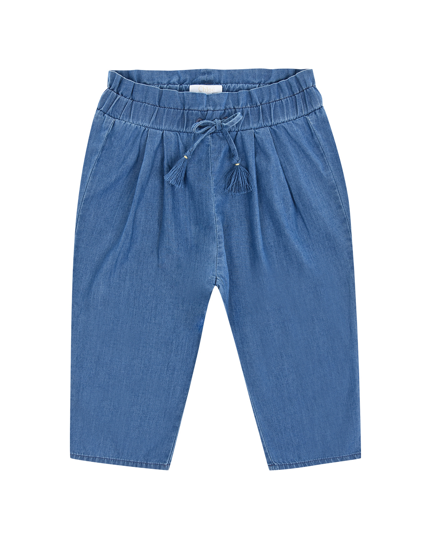 Голубые джинсы с поясом на кулиске Chloe детские фото