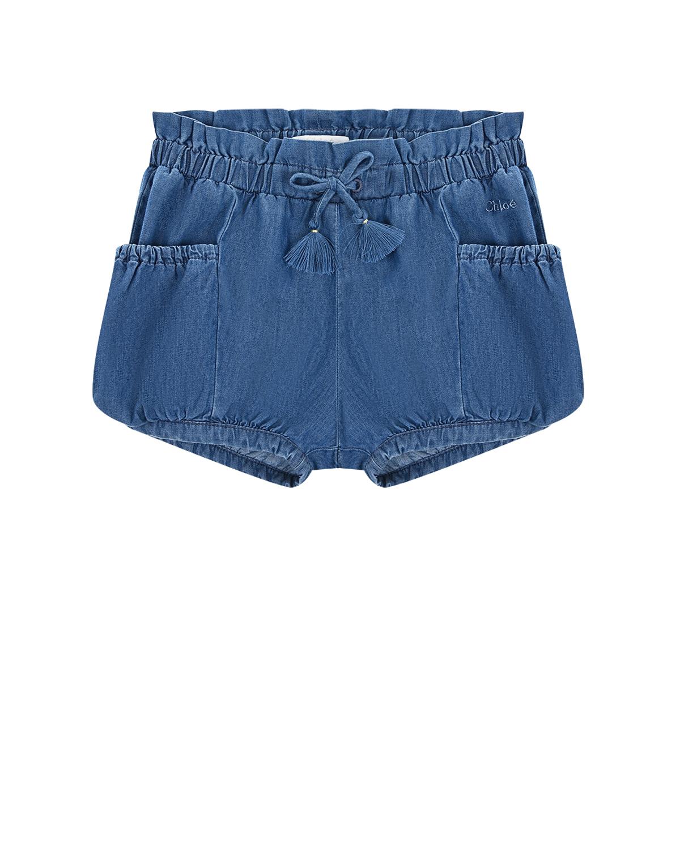 Купить Джинсовые шорты с накладными карманами Chloe детские, Голубой, 100%хлопок
