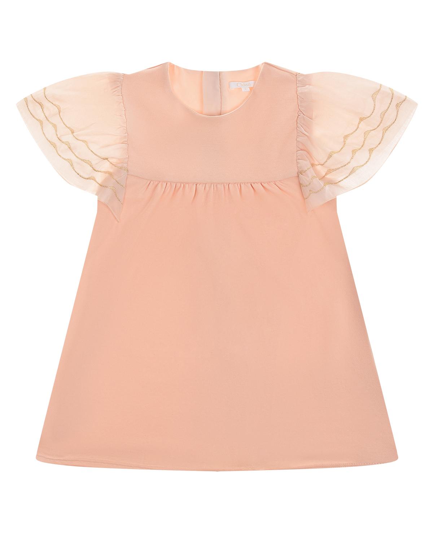 Купить Розовое платье с вышивкой на рукавах Chloe детское, Кремовый, 100%хлопок, 50%модал+50%хлопок
