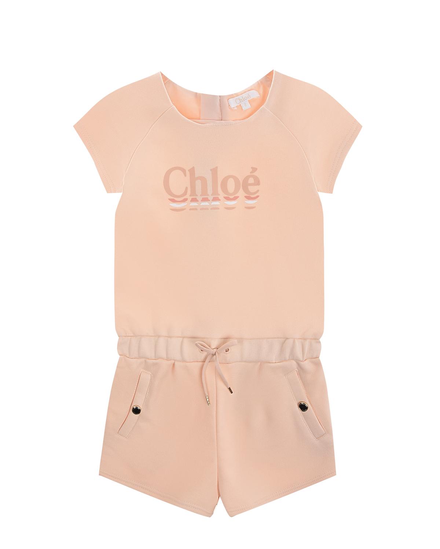 Купить Розовый комбинезон с логотипом Chloe детский, 100%хлопок, 88%хлопок+12%полиэстер