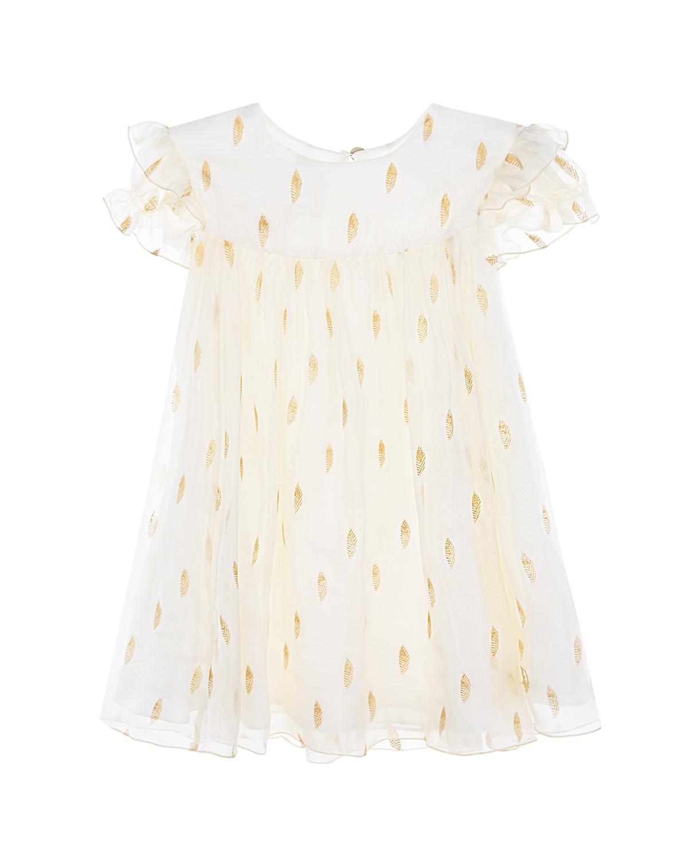 Купить Многослойное платье с короткими рукавами Dior детское, Кремовый, 100% шелк, 79%ацетат+15%шелк+6%полиамид